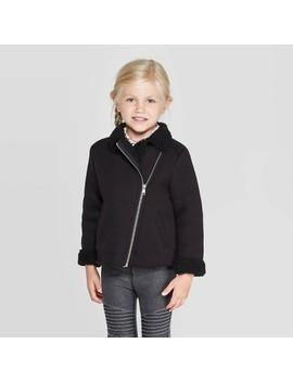Toddler Girls' Sherpa Moto Jacket   Art Class™ Black by Art Class