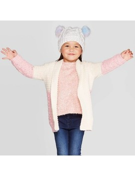 Toddler Girls' Colorblock Cardigan   Cat & Jack™ Cream/Pink by Cat & Jack
