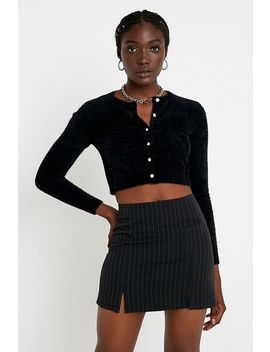 Uo Pinstripe Woven Notched Mini Skirt by Urban Outfitters