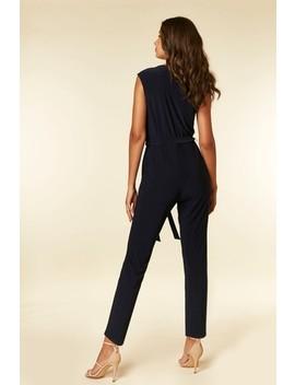 Wallis Blue V Neck Wrap Jumpsuit by Next