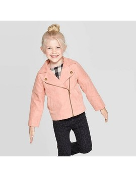 Toddler Girls' Faux Suede Moto Jacket   Art Class™ Peach by Art Class