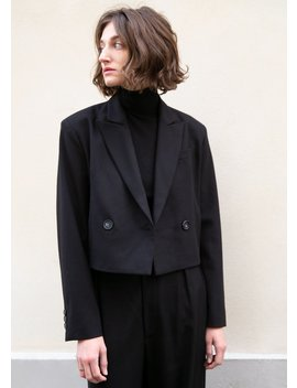 Black Cropped Woolen Blazer by The Frankie Shop