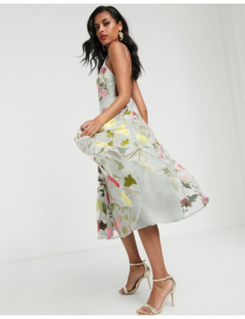 Asos Edition Halter Neck Floral Embroidered Midi Dress by Asos Edition