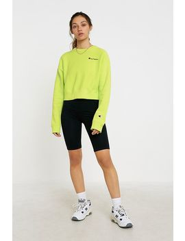 Champion Uo Exclusive Lime Script Logo Cropped Crew Neck Sweatshirt by Champion