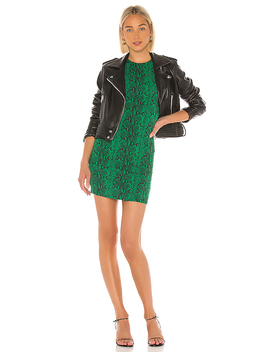 Alicia Delora Sleeveless Fitted Mini Dress In Snake Emerald by Alice + Olivia