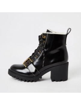Black Lace Up Borg Trim Hiker Boots by River Island