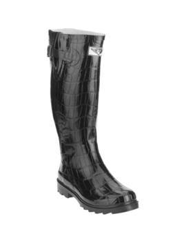 Forever Young Women's Croc Textured Tall Rain Boot by Forever Young