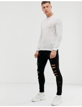 Asos Design Knitted Jumper In Sheer Leopard Burnout by Asos Design