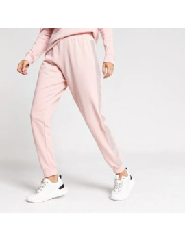 Pink Diamante Embellished Side Joggers by River Island