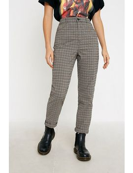 Uo Brown Check Print Slim Cigarette Trousers by Urban Outfitters