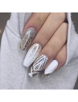 White And Gold Glitter Tribal Ring Finger Gel Nails • Fake Nails • Press Ons • Press On Gel Nails • Press On Nails • Gel Nails • False Nails by Etsy