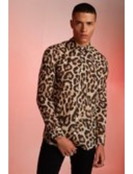 Animal Print Relaxed Fit Long Sleeve Shirt by Boohoo Man