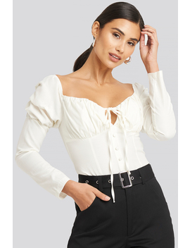Ruffle Cup Blouse Weiß by Afjxnakd