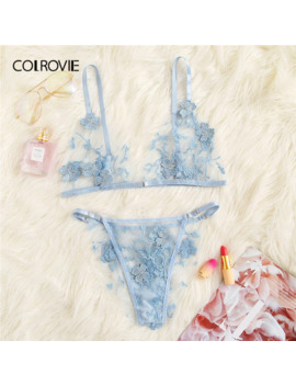 Colrovie Blue Appliques Tanga Mesh Lingerie Set Women Intimates 2019 Sexy Wireless Bralettes And Briefs Underwear Bra Set by Ali Express.Com
