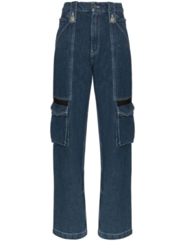 Mid Rise Cargo Pocket Straight Leg Jeans by House Of Holland