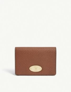 Logo Plaque Leather Card Holder by Mulberry