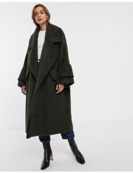 Asos Design Hero Coat With Cuff Detail In Khaki by Asos Design