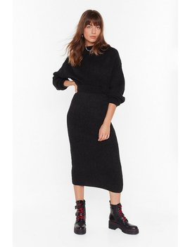 Ain't No Doubt About Knit High Waisted Midi Skirt by Nasty Gal