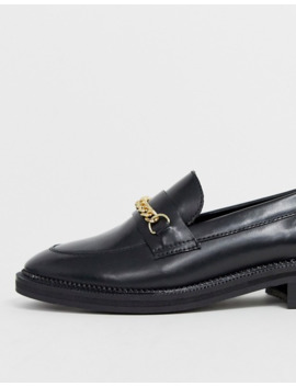 Asos Design Mixture Leather Chain Loafers In Black by Asos Design