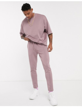 Asos Design Co Ord Tapered Joggers In Scuba Fabric With Pin Tucks & Fixed Hem In Washed Purple by Asos Design