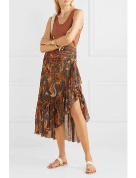 Ailie Ruffled Printed Cotton Blend Midi Skirt by Ulla Johnson