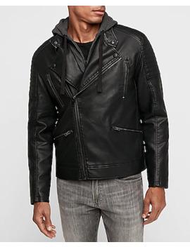 Vegan Leather Removable Hood Asymmetrical Moto Jacket by Express