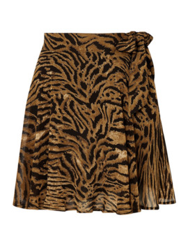 Tiger Print Georgette Mini Skirt by Ganni