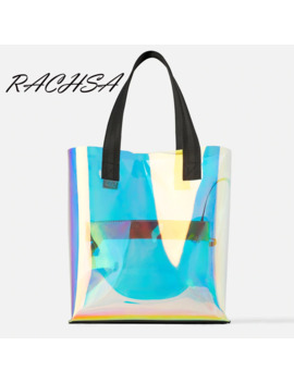 Laser Hologram Transparent Pvc Tote Bags 2019 New Fashion Shoulder Bag Summer Beach Large Capacity Shopping Bags Harajuku Bolsas by Ali Express.Com