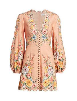 Zinnia Scalloped Puff Sleeve Mini Dress by Zimmermann