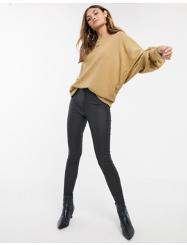 Y.A.S Rib Knitted Batwing Sweater In Brown by Y.A.S