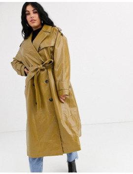 Asos Design Curve Vinyl Trench Coat In Khaki by Asos Design