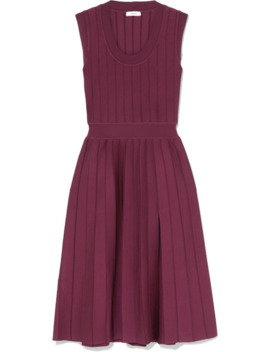 Ribbed Pleated Stretch Knit Midi Dress by Casasola
