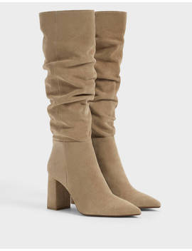 Leather Slouched Boots Null   Bershka United States by Bershka