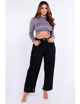 Black Wide Leg Baggy Ankle Press Stud Jeans by Hidden Fashion