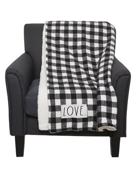 """Rae Dunn Love Embroidered Buffalo Check And Sherpa Throw Blanket   50x60"""", Black And White by Rae Dunn"""