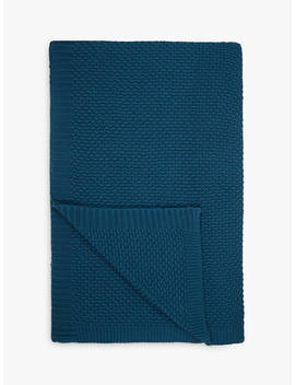 John Lewis & Partners Textured Knitted Throw, Dark Spruce by John Lewis & Partners