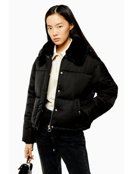 Petite Black Padded Puffer Jacket With Faux Fur Collar by Topshop