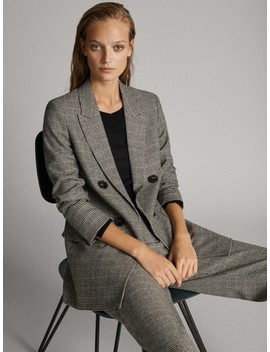 Double Breasted Blazer Met Ruiten by Massimo Dutti