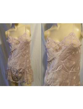Vtg 1980s Guy Laroche Mauve Silk Teddy With Lace Trim Small by Etsy