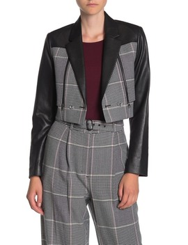 Faux Leather Houndstooth Jacket by Bcbgmaxazria