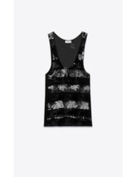 Tank Top With Destroyed Metallic Bands by Saint Laurent