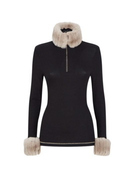 Faux Fur Trim Thermal Top by S'no Queen