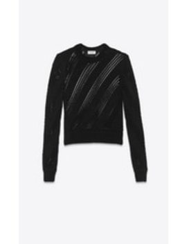 Cropped Knitted Sweater In Viscose And Silk by Saint Laurent