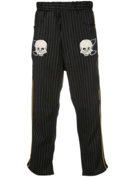 Embroidered Skull Trousers by Lost Daze
