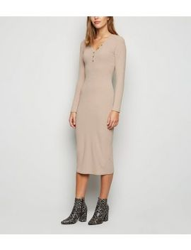 Camel Ribbed Long Sleeve Midi Dress by New Look