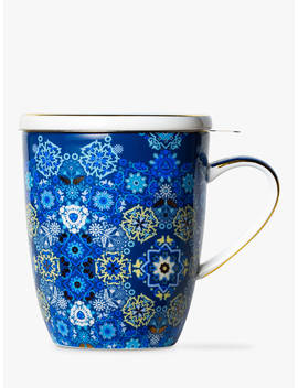 T2 Portuguese Tiles Infuser Mug With Lid, 360ml, Navy by T2