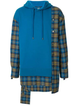 Check Shirt Colour Block Hoodie by Wooyoungmi