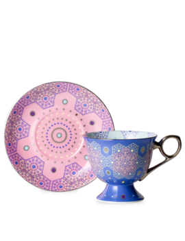 Moroccan Tealeidoscope Iced Blue Cup & Saucer Tall by T2 Tea