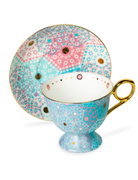 Moroccan Tealeidoscope Remix Blue Tall Cup & Saucer by T2 Tea