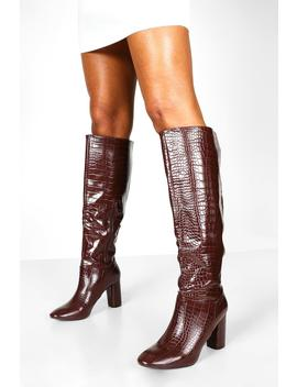 Calf High Croc Boots by Boohoo